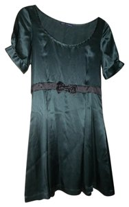 French Connection short dress Dark Green/Black Fit And Flare Silk Baby Doll Empire Waist on Tradesy