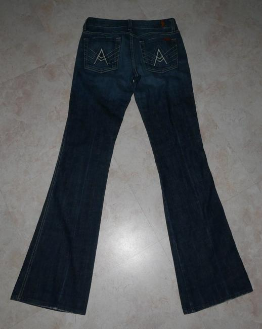 7 For All Mankind Stretchy A Pocket Distressed Lightened Boot Cut Jeans-Distressed Image 4