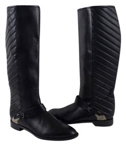 Stuart Weitzman Raceway Quilted Riding Leather Black Boots