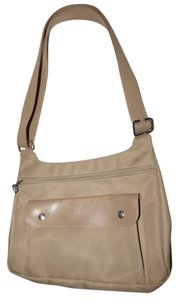 Longchamp Excellent Vintage Unisex Cb/Shoulder Chrome Hardware Front Pocket khaki or tan leather & heavy canvas fabric Messenger Bag