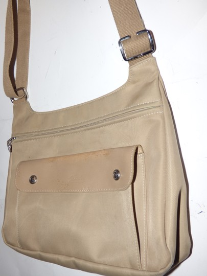 Longchamp Excellent Vintage Unisex Cb/Shoulder Chrome Hardware Front Pocket khaki or tan leather & heavy canvas fabric Messenger Bag Image 1