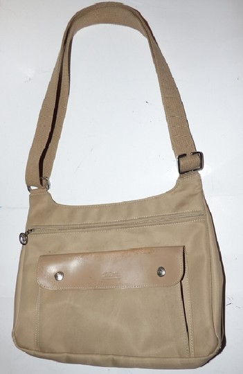 Longchamp Excellent Vintage Unisex Cb/Shoulder Chrome Hardware Front Pocket khaki or tan leather & heavy canvas fabric Messenger Bag Image 11