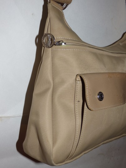Longchamp Excellent Vintage Unisex Cb/Shoulder Chrome Hardware Front Pocket khaki or tan leather & heavy canvas fabric Messenger Bag Image 5