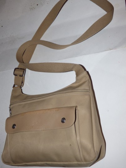 Longchamp Excellent Vintage Unisex Cb/Shoulder Chrome Hardware Front Pocket khaki or tan leather & heavy canvas fabric Messenger Bag Image 7