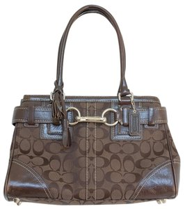 Coach Signnature C Jacquard Leather Tassels Hampton Satchel in Brown