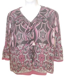 Studio 1940 Abstract Floral Tunic Medium Top Black Pink White