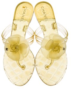 Chanel Interlocking Cc Gold Hardware Camellia Glitter Jelly Yellow, Gold Sandals