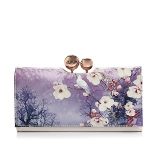 Ted Baker Ariana Misty Mountains Odd Ball Matinee Wallet Pink Flower Floral White Leather Gold