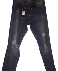 A|X Armani Exchange Distressed Skinny Jeans-Medium Wash