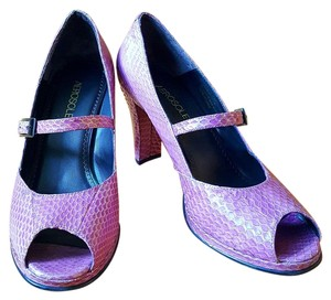 Aerosoles Peep Toe Snakeskin Textured Light Purple Pumps