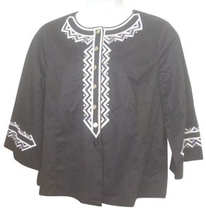 9a91e30f89724 Bob Mackie Embroidered 3 4 Sleeve Cover Wearable Art Button Down Shirt Black  Silver Gold