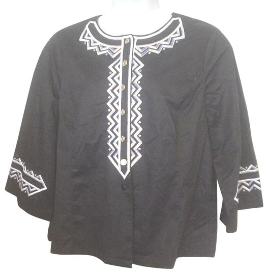 c67829310416d Bob Mackie Black Silver Gold Wearable Art Embroidered Shirt 1x Button Down  Shirt - 25%