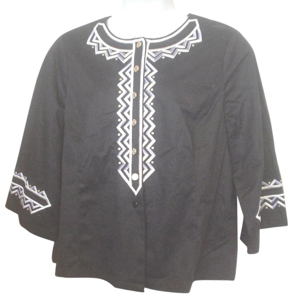 Bob Mackie Black Silver Gold Wearable Art Embroidered Shirt 1x Button Down Top Size 20 Plus 1x 43 Off Retail