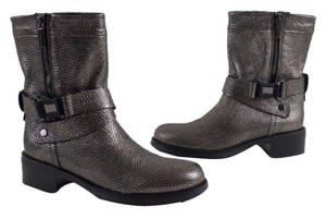 Aquatalia by Marvin K. Weatherproof Leather Moto Italy Metallic Gray Boots