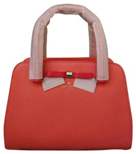 Kate Spade Leather Crossbody Bow Satchel in Coral