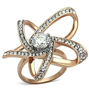La Bella Rose Rose Gold Stainless Steel Clear CZ Flower Ring - 07166