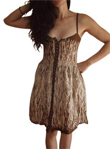 Free People short dress Brown Tan Beige Hook Eye A-line Adjustable Straps Flowy on Tradesy