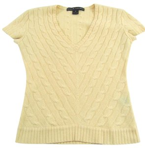 Ralph Lauren Black Label Sweater 100% Cashmere Shirt Short Sleeve V Neck Tee 6 4 T Shirt yellow