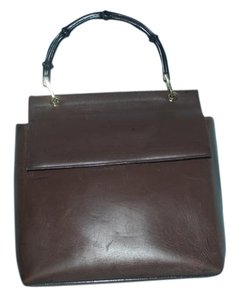 Gucci Bamboo Handles Satchel in Brown leather