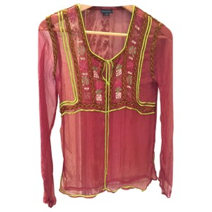 Antik Batik Sheer Silk Embroidered Pink Top Raspberry