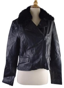 Classiques Entier Shearling Collar Leather Moto Coat
