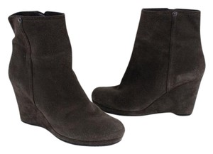Prada Italy Suede Wedge Ankle Grafite Boots