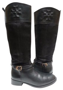 Tory Burch Leather Textile Lining Black Boots
