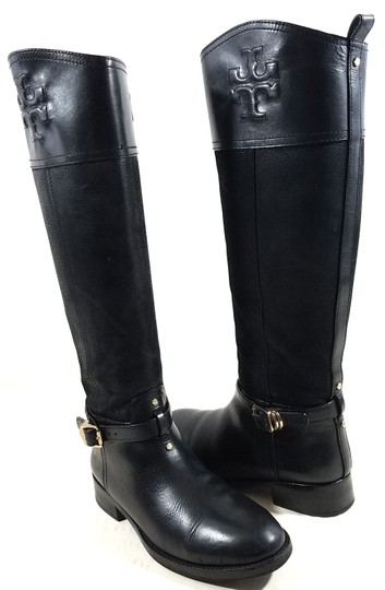 Tory Burch Leather Textile Lining Rubber Sole S/N 32148403 Black Boots Image 1