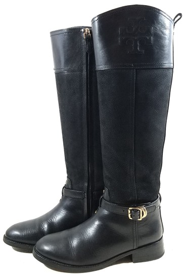 Tory Burch Leather Textile Lining Rubber Sole S/N 32148403 Black Boots Image 2