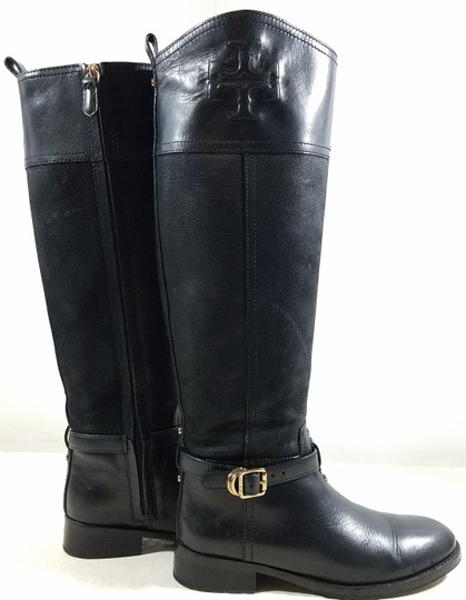 Tory Burch Leather Textile Lining Rubber Sole S/N 32148403 Black Boots Image 3