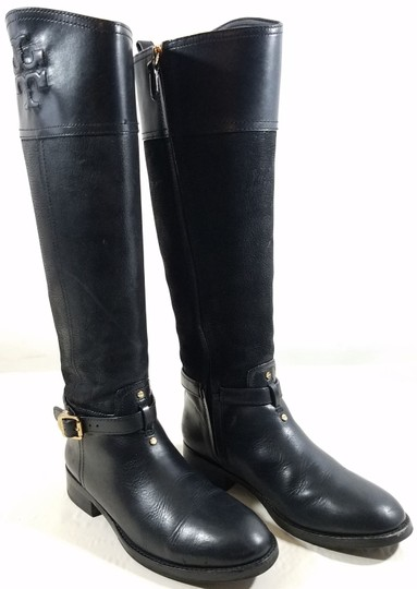 Tory Burch Leather Textile Lining Rubber Sole S/N 32148403 Black Boots Image 6