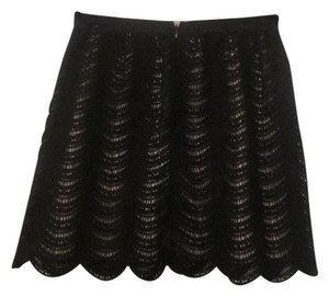 Club Monaco Mini Skirt Black Lace/Nude Lining