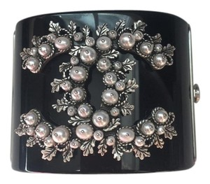 Chanel Chanel New Black Cuff Bracelet Gun Metal Grey Large Pearl CC