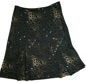 Tory Burch Animal Print Rayon Skirt Navy blue and tan