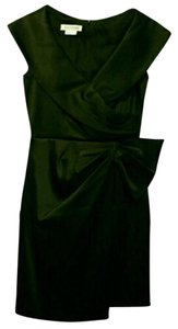 Kay Unger Madmen Wiggle Satin Faux Wrap Draped Dress