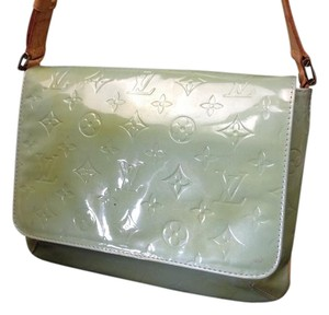 Louis Vuitton Vernis Patent Houston Tote in Pale Green Monogrammed imprinted Patient Leather