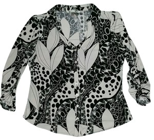 Peter Nygard Button Up Stetchy Ruched Button Down Shirt black and white