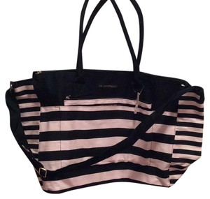 Victoria's Secret Black with Pink Stripes Travel Bag