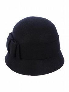 Kate Spade Black Wool Felt Cloche Hat With Bow