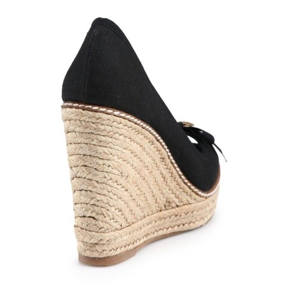 5f75d769043 Tory Burch Jackie Black Canvas Peep Toe Espadrilles Wedges Size US 10.5  Regular (M