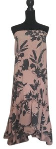 Pink and Gray Maxi Dress by Mono B Floral Floral High Low