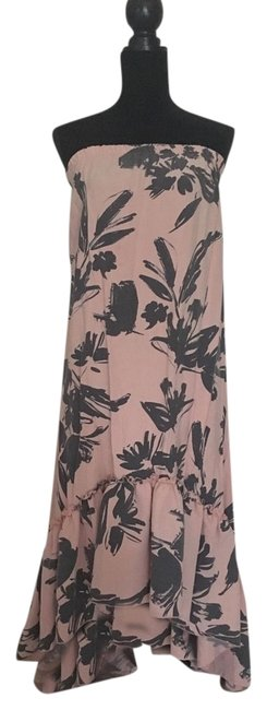Item - Pink and Gray Floral Strapless High Low Long Casual Maxi Dress Size 4 (S)