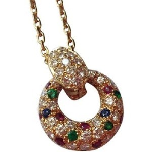 Van Cleef & Arpels Van Cleef & Arpels 18k Yg Diamond Ruby Sapphire & Emerald Circle Necklace