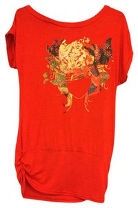 unattributed Sequined Dance T Shirt Red