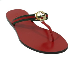 Gucci Sandal Thong Web Red Sandals