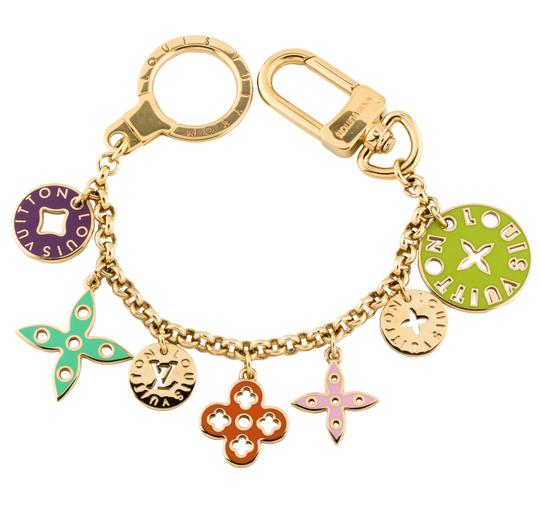 Gold Pink and Green Charm bracelet