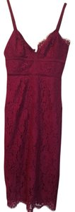 Keepsake the Label Lace Bodice Burgundy Midi Dress