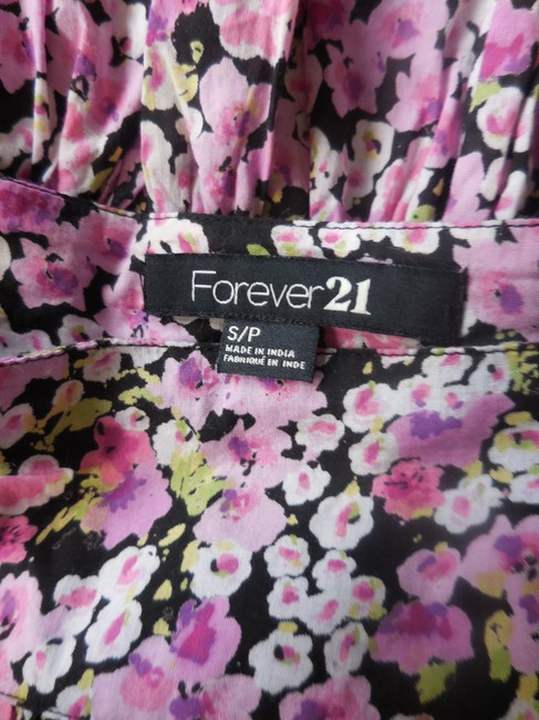 Forever 21 Tiered Ruffled Micro Above Knee Mini Skirt Pink Black