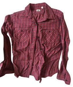 Uniqlo Flannel Button Down Shirt Red Plaid