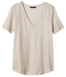 Banana Republic T Shirt Gold Metallic/Cream